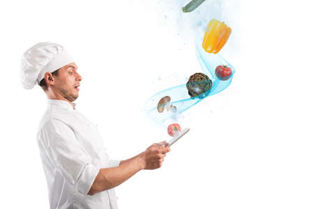 stunned: Chef looks stunned vegetables that come from tablet