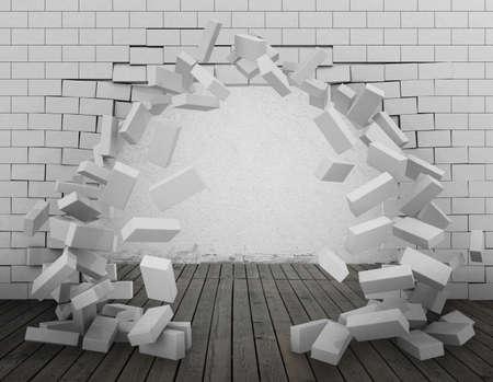 pared rota: Antecedentes de una pared de ladrillo roto a través de la representación 3d Foto de archivo