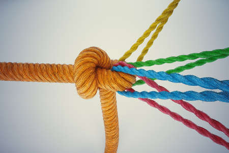 join the team: 3D Rendering different colored ropes tied together with a knot Stock Photo