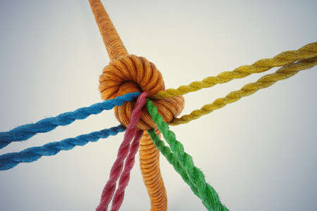 association: 3D Rendering different colored ropes tied together with a knot Stock Photo