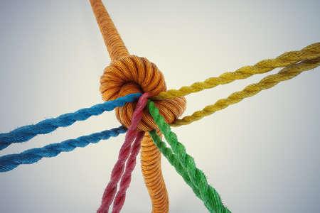 gefesselt: 3D-Rendering verschiedenfarbige Seile gebunden zusammen mit einem Knoten