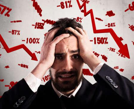 desesperado: negocios desesperado y desalentado con tasas de caída de fondo