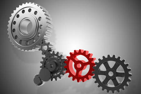 3D-rendering versnellingssysteem mechanisme samen roteren
