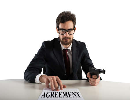 threatening: Boss forces you to sign an agreement by threatening with the gun