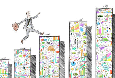 Businessman jumping on the steps of the statistical