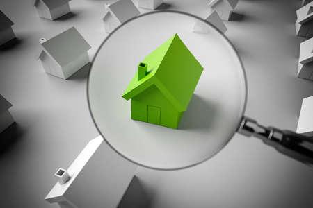 3D-Rendering Lupe auf einem Modell eines Hauses, um es zu vergrößern