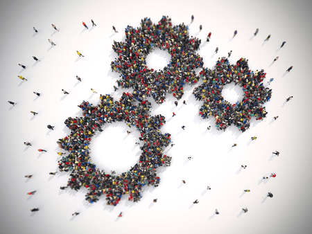 merging together: 3D Rendering of people united form two gears Stock Photo