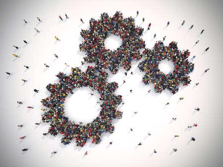 3D-rendering van de mensen verenigd vorm twee versnellingen Stockfoto