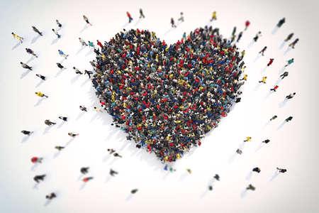 사랑의 심장 기호를 형성하는 사람들의 3D 렌더링 군중