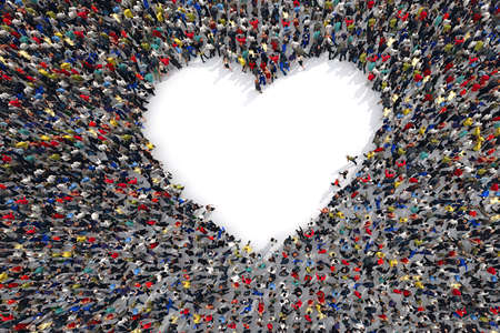 3D Rendering crowd of people that form the heart symbol of love