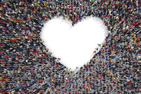multitud gente: Representación 3D multitud de personas que forman el símbolo del corazón del amor