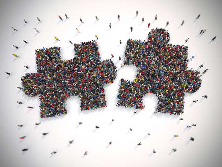 merging together: 3D Rendering of people united form two pieces of puzzle