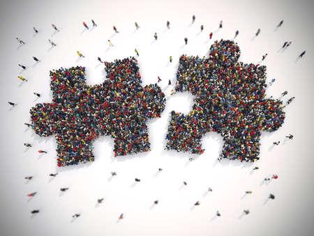 3D-rendering van de mensen verenigd vormen twee stukjes van de puzzel