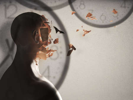 uncontrollable: 3D Rendering of face crumbling and background with watches