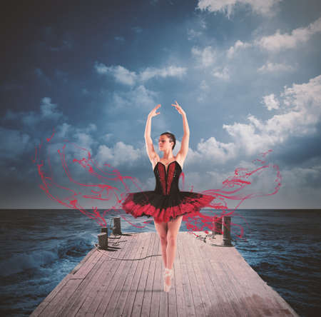 expertise: Classical dancer with tutu dancing on a floating dock Stock Photo