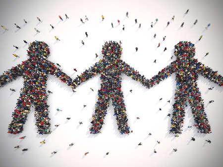 세계에서 연대의 상징을 형성하는 사람들의 3D 렌더링 군중