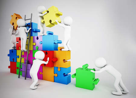 cartoon work: White people build a company with puzzle. Concept of parthership and teamwork. 3D rendering Stock Photo