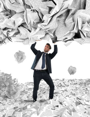 mess: Businessman is repaired by a rain of big leaves