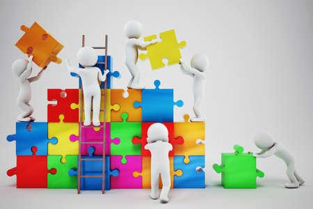 Witte mensen bouwen aan een bedrijf met een puzzel. Concept van parthership en teamwork. 3D-rendering Stockfoto