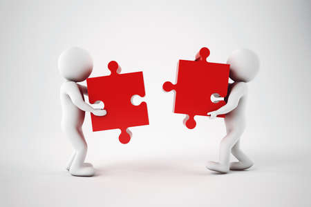 attach         â     â       ©: empresarios blancos construir una empresa con rompecabezas. Concepto de Parthership y trabajo en equipo. representación 3D.