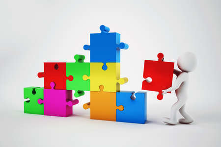collective: White man build a company with puzzle. Concept of parthership and teamwork. 3D rendering. Stock Photo