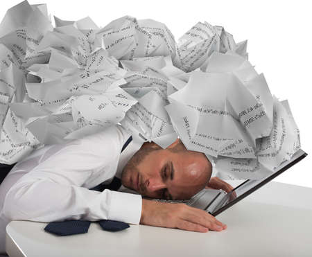 frustrate: Businessman with a pile of sheets over his head