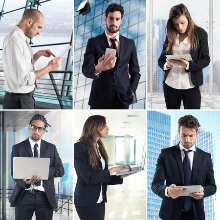 working on computer: Composition of business photo concept with men and women working with computers