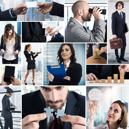 team leadership: Composition of business photo concept with men and women