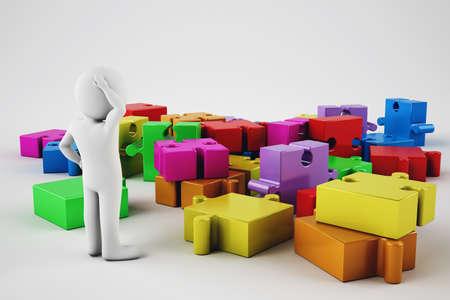attach         â     â       ©: hombre blanco de dibujos animados confusa tratar de construir una empresa. representación 3D