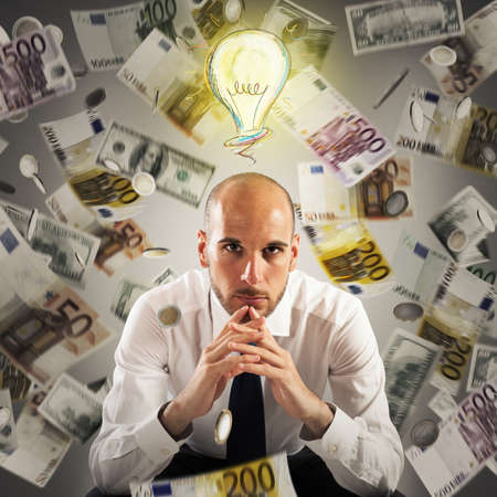 earn money: Man with light bulb over his head and money background