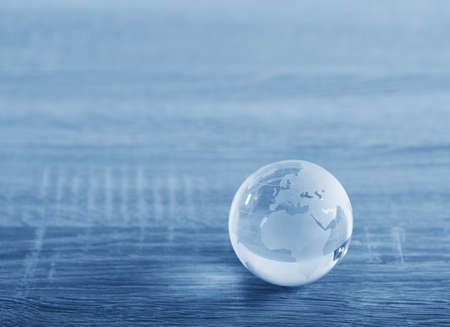 circular: World glass sphere with continents on the table