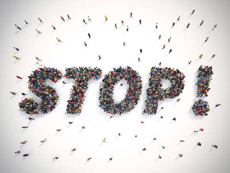 closed society: 3D Rendering crowd of people united forming the word stop