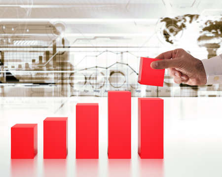 3D Rendering businessman builds the steps a statistic