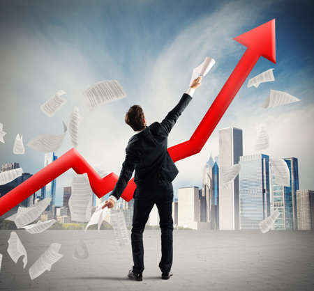 achieved: Businessman who has achieved success in business Stock Photo