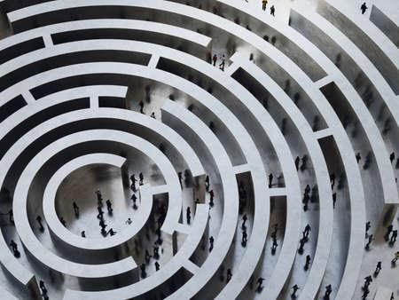 Mensen gaan een ingewikkeld labyrint. 3D Rendering