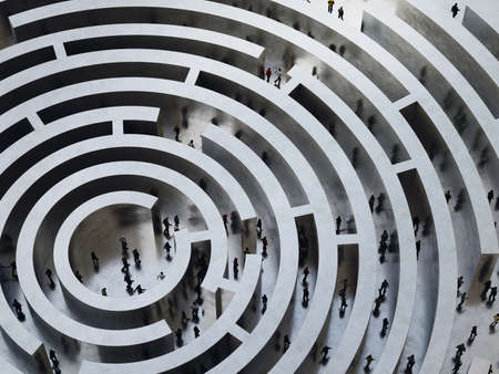 incertitude: People enter into a complicated labyrinth. 3D Rendering
