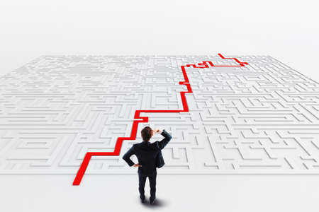 Businessman in front of a maze with solution  . 3D Rendering
