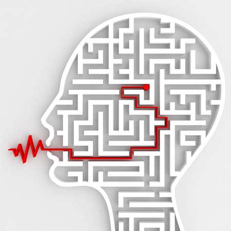 脳と頭の中の迷路とスピーチの間の接続の 3 D レンダリング