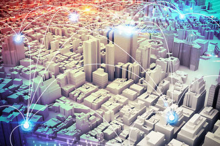 urban planning: Background of a cityscape with futuristic designs  . 3D Rendering