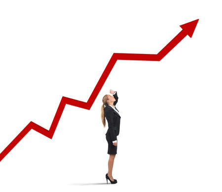 Businesswoman see arrow chart of rising profits