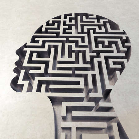 3D Rendering of head with complicated maze