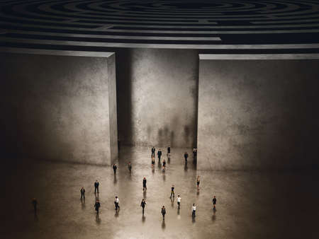 problematic: People coming out of a complicated maze. 3D Rendering
