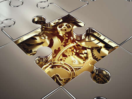 association: 3D Rendering of System of golden gear covered by a puzzle. concept of cooperation between systems