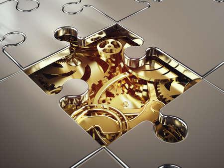 Renderização 3D do sistema de engrenagem dourada coberto por um quebra-cabeça. conceito de cooperação entre sistemas Foto de archivo