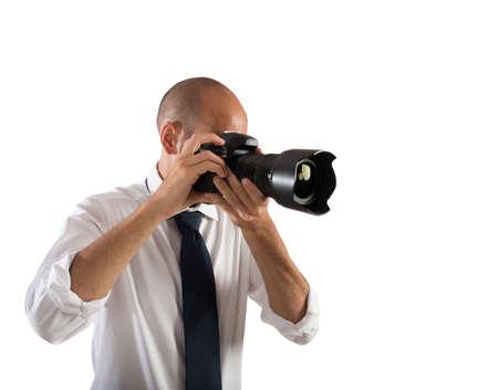 Professionele fotograaf op het werk in een bruiloft Stockfoto