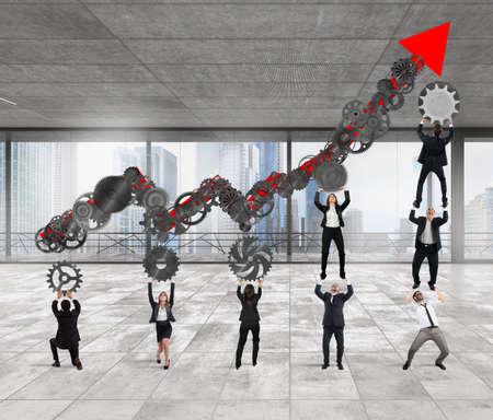 mechanism: Teamwork build an arrow upwards with gears mechanism