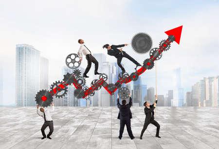 Teamwork build an arrow upwards with gears mechanism Фото со стока - 63888850