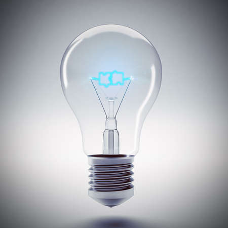 Bulb with the word puzzle blue filament. 3d rendering