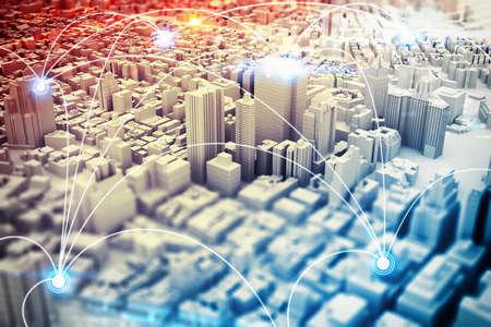 Antecedentes de un paisaje urbano con diseños futuristas. Representación 3D Foto de archivo - 64803623