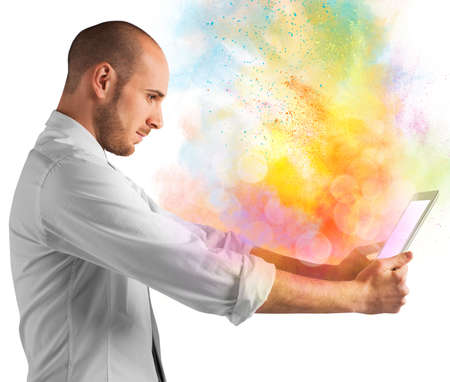 Tablet with burst of bright colorful powders